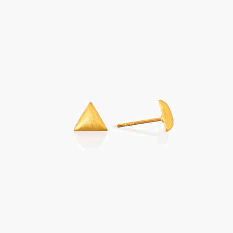 Sanded Triangle Stud - Gold