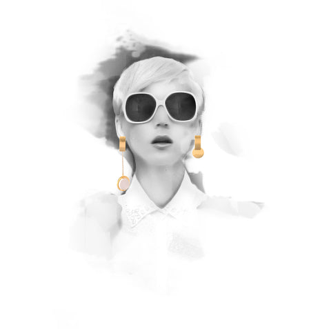 Iron&Bone Fashion Illustration, Designer Asymmetrical Earrings, Statement Earrings