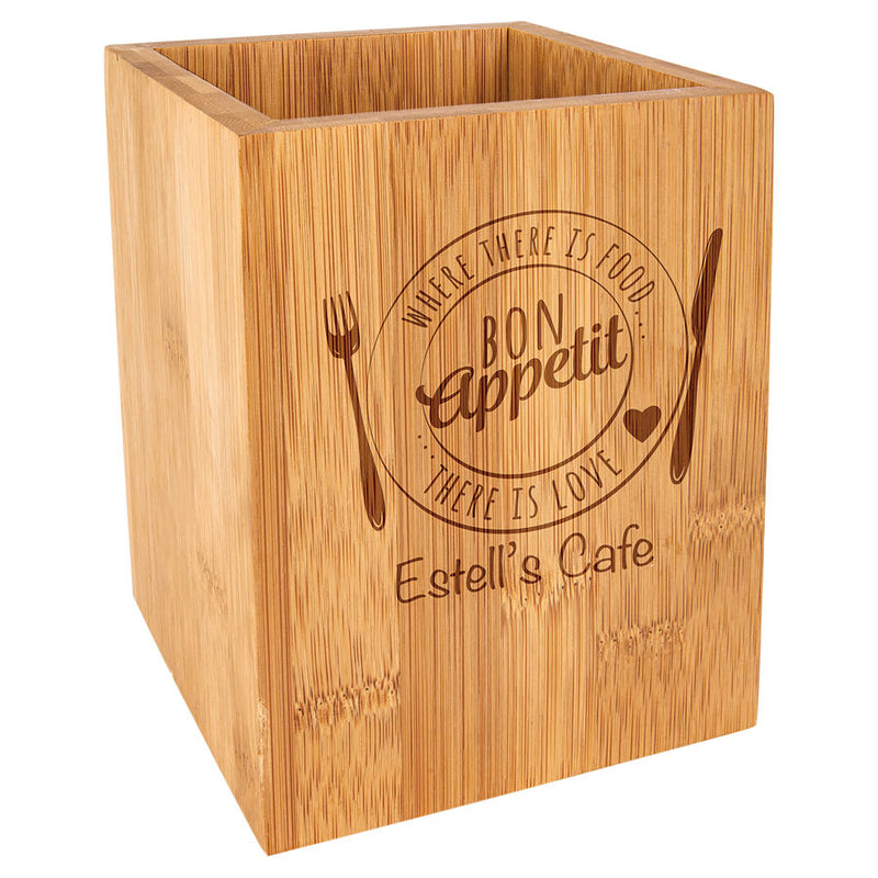 "4 1/4"" x 6"" Bamboo Utensil Holder"