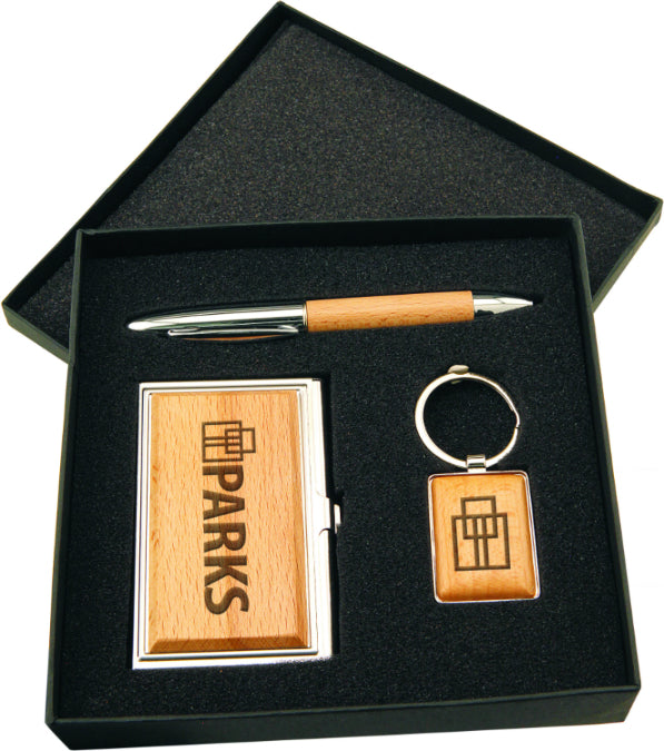 Gift Set with Business Card Case, Pen & Keychain