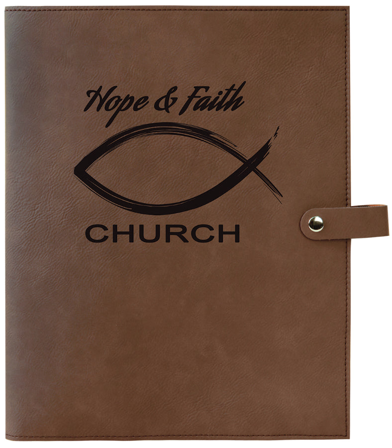 "8 3/4"" x 11"" Dark Brown Leatherette Book/Bible Cover with Snap Closure"