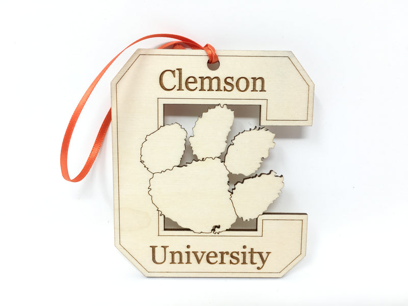 "Clemson University Wood ""C"" Ornament"