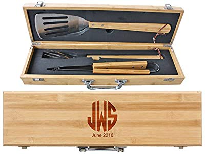 3-Piece Bamboo BBQ Set in Bamboo Case