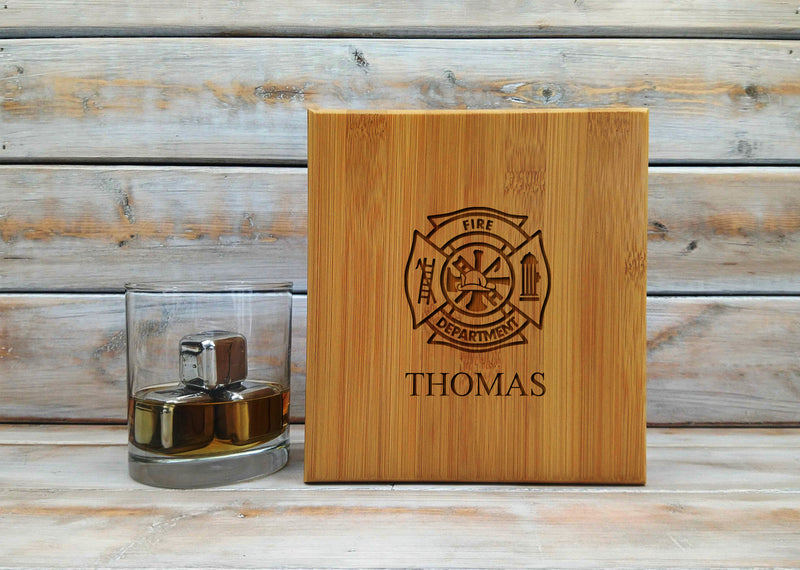 "6 1/4"" x 6 3/4"" Stainless Steel Whiskey Stone Set in Bamboo Case"