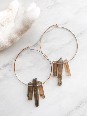 Smokey Quartz Hoops
