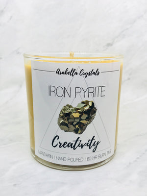 Iron Pyrite Crystal/ Citrus Candle