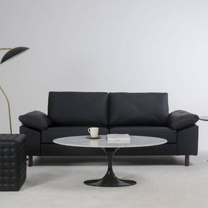 "Eitaro 3-Seater ""Purism"" Leather Sofa (Black)"