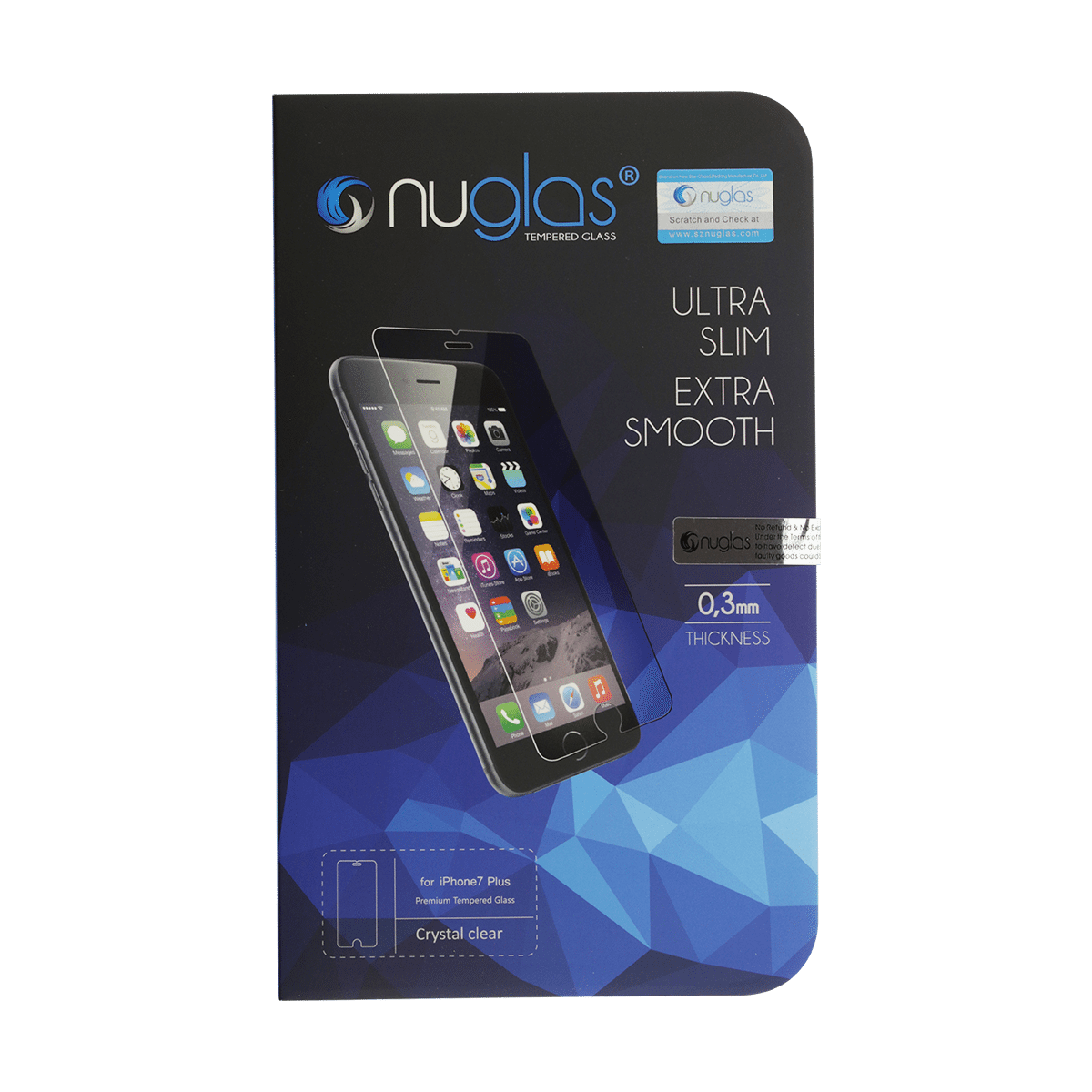 iPhone 8 Plus Nuglas 2.5D Tempered Glass Screen Protector
