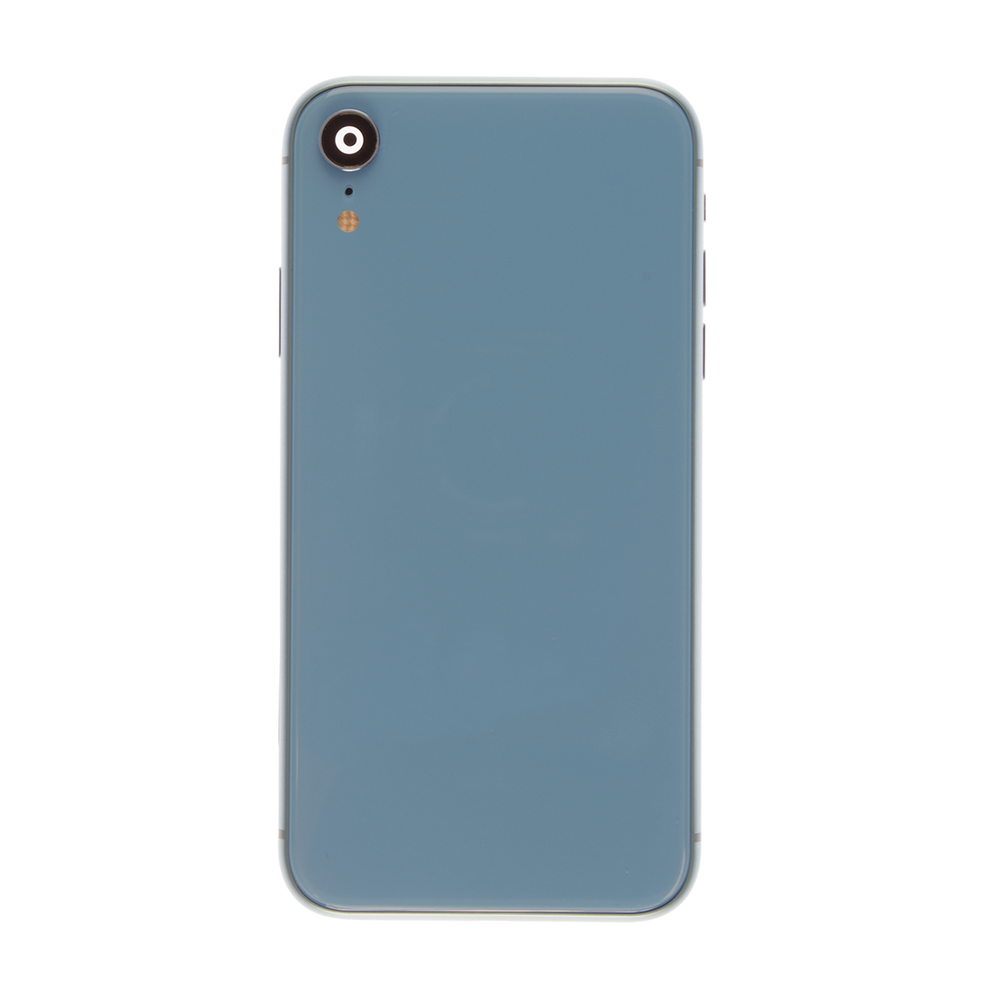 Housing Rear Glass, Frame, Small Components Blue with Tool Kit for Apple iPhone XR