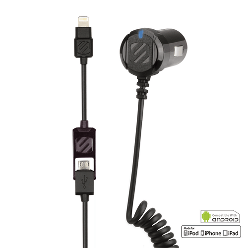 2-in-1 Car Charger for Apple Lightning Devices & Micro USB Devices