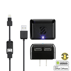 10W 2 Port AC Charger w/USB to Lightning Charge/Sync