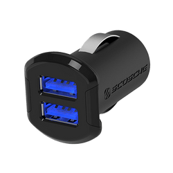 USB Car Charger - Dual 10 Watt (2.1A) USB Ports (Black)