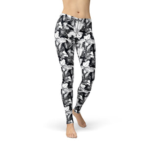 Amber Black White Leaves,XS / Black / Soft Lycra