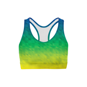 Beach Triangles Sports Bra,XS / Multicolored / Soft Lycra