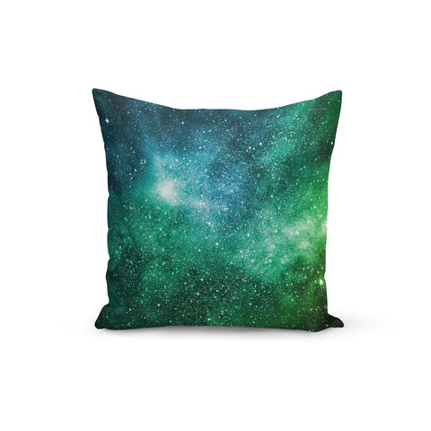Blue Green Galaxy Throw Pillows,18x18 / Multicolored / Polyester