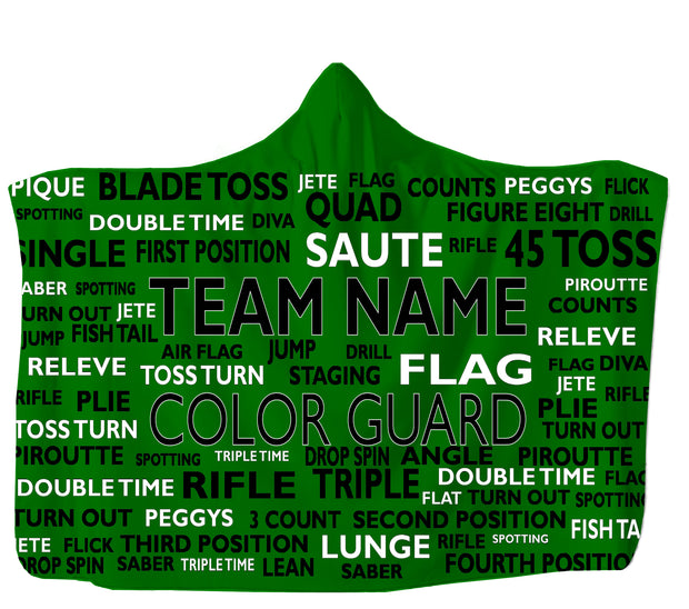 Colorguard Hooded Blanket Add Team Name