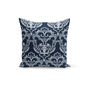 Navy Damask Throw Pillows,18x18 / Multicolored / Polyester