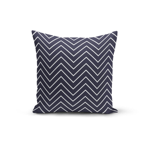 Navy White Zigzag Throw Pillows,18x18 / Multicolored / Polyester
