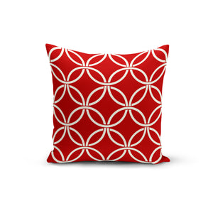 Red Circle Interlock Throw Pillows,18x18 / Multicolored / Polyester
