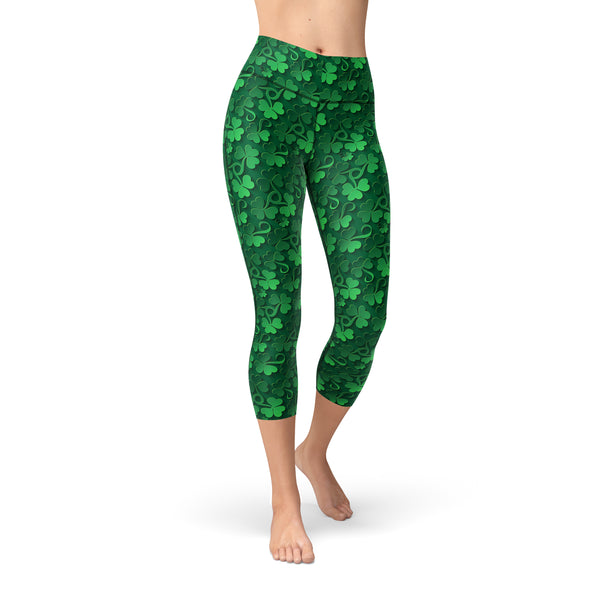 Nellie Yoga Clovers All Over,XS / Green / Soft Lycra