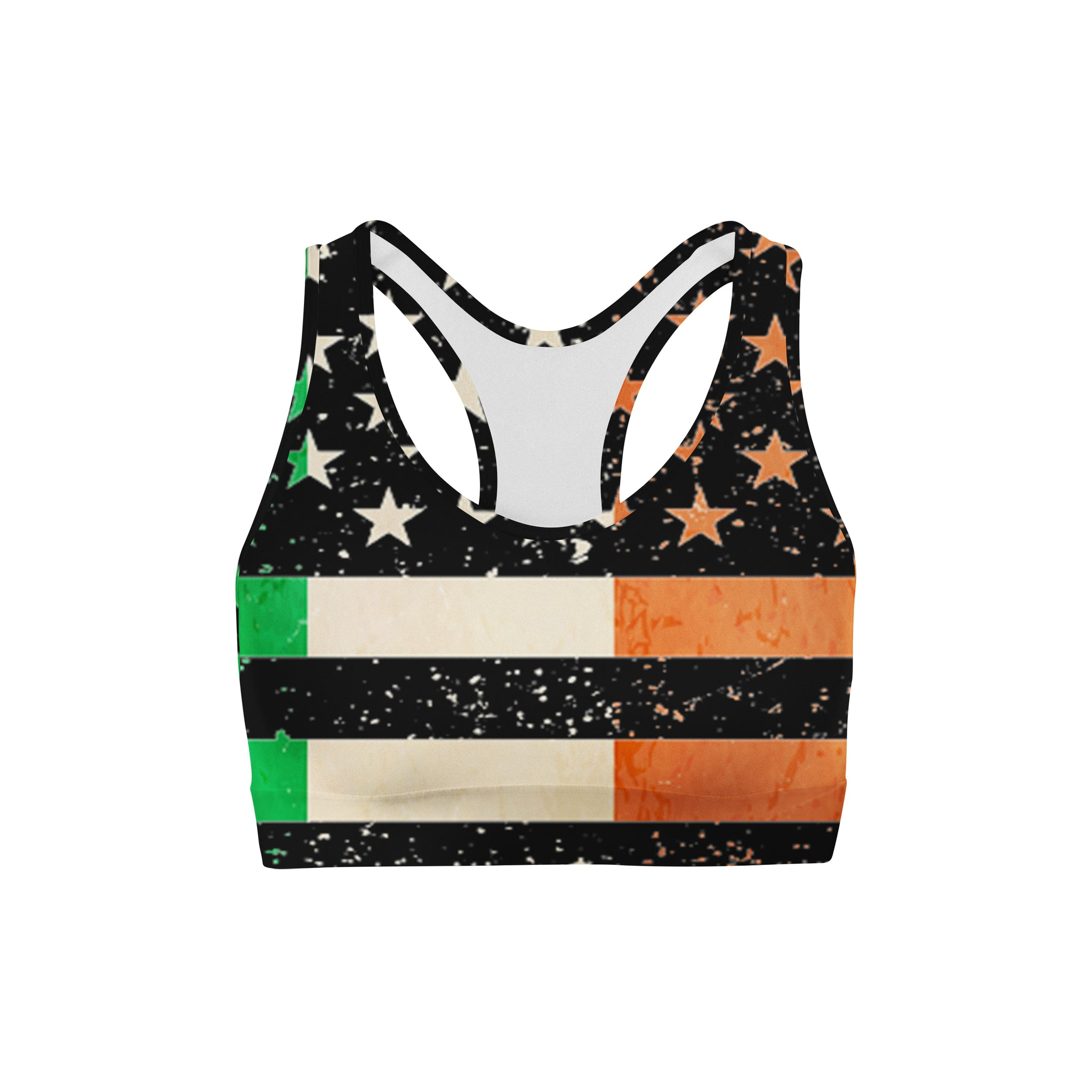 Irish Pride Distressed Sports Bra,XS / Multicolored / Soft Lycra