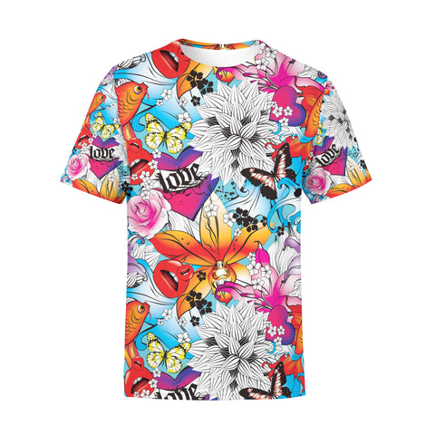 Men's Tattoo Fish and Flowers T-Shirt,S / Multicolored
