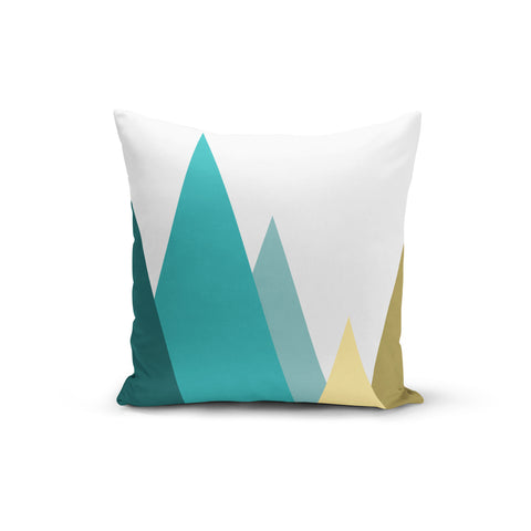 Teal Mountains Throw Pillows,18x18 / Multicolored / Polyester