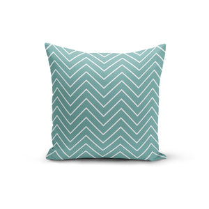 Teal white Zigzag Throw Pillows,18x18 / Multicolored / Polyester