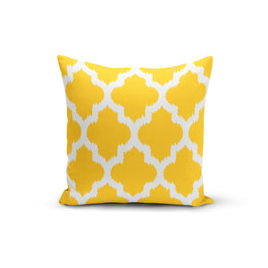 Yellow Geometric Throw Pillows,18x18 / Multicolored / Polyester