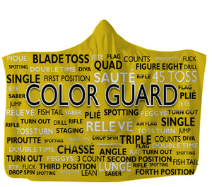 "Yellow Color Guard Hooded Blanket,Adult 55""x80"" / Multicolored / Sweatshirt Fleece"