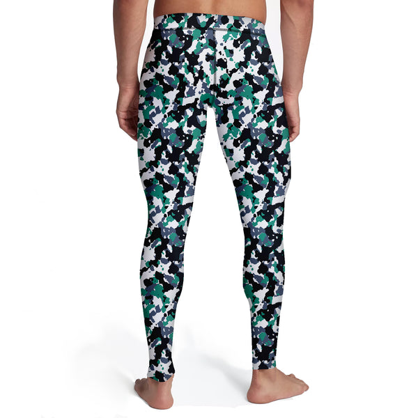 Men's Green White Camo Tights