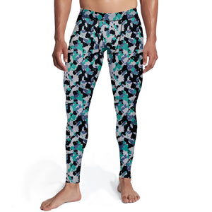 Men's Green White Camo Tights,S / Soft Lycra / Multicolored