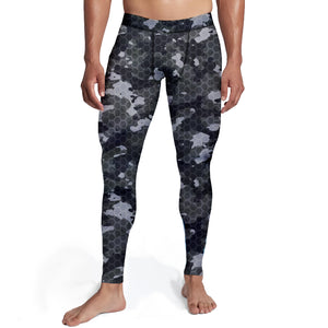 Men's Black Hex Camo Tights