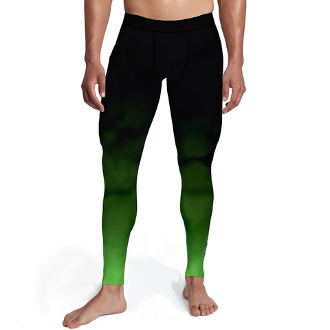 Men's Black Green Ombre Tights,S / Soft Lycra / Multicolored