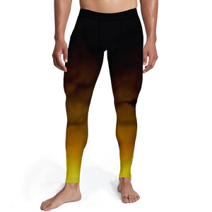 Men's Black Gold Ombre Tights,S / Soft Lycra / Multicolored
