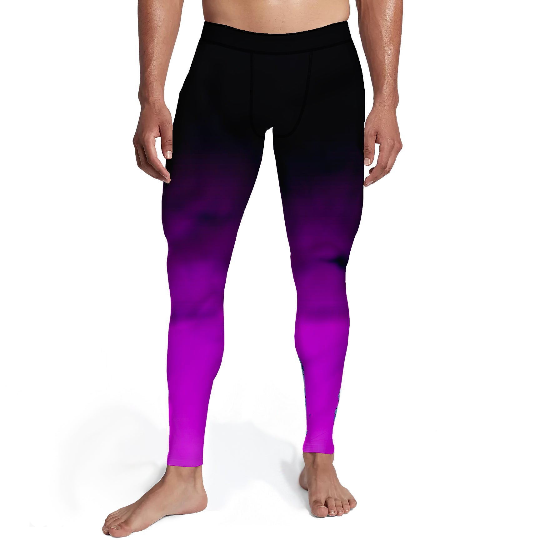 Men's Black Pink Ombre Tights,S / Soft Lycra / Multicolored