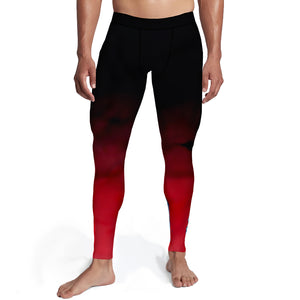 Men's Black Red Ombre Tights,S / Soft Lycra / Multicolored