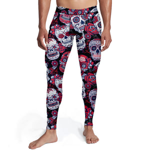 Mens Black and Red Skulls Tights,S / Soft Lycra