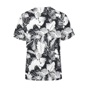 Men's Black White Leaves T-Shirt