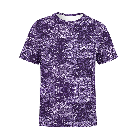 Men's Purple lace T-Shirt,S / Multicolored