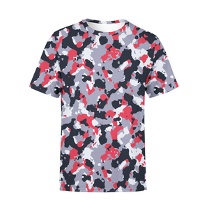 Men's Red White Camo T-Shirt,S / Multicolored