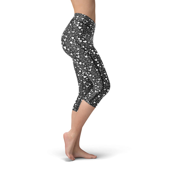 Nellie Yoga Black White Hearts,XS / Black / Soft Lycra