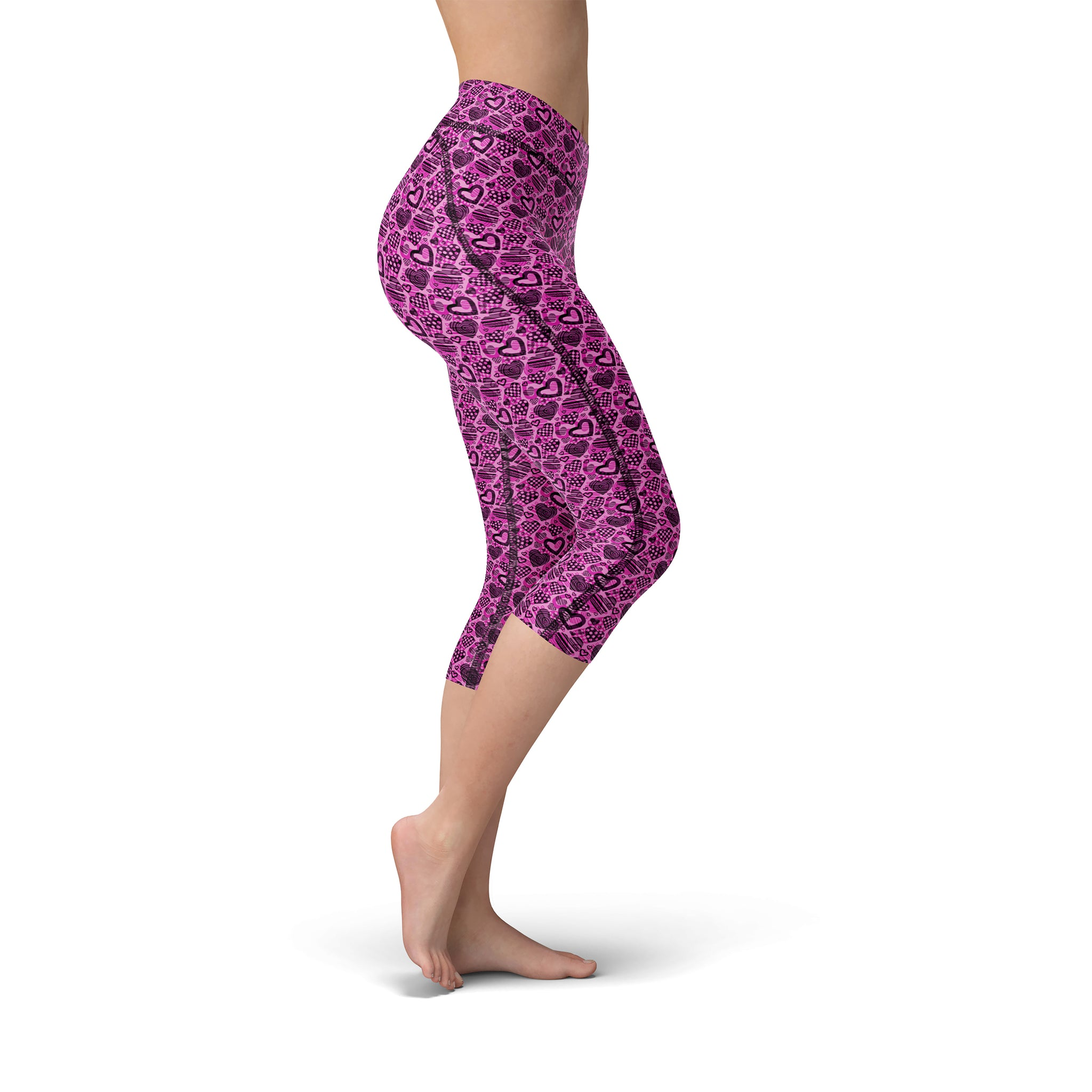 Nellie Yoga Pink Hearts,XS / Pink / Soft Lycra