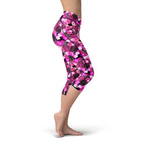 Nellie Yoga Pink Magenta Flowers,XS / Pink / Soft Lycra
