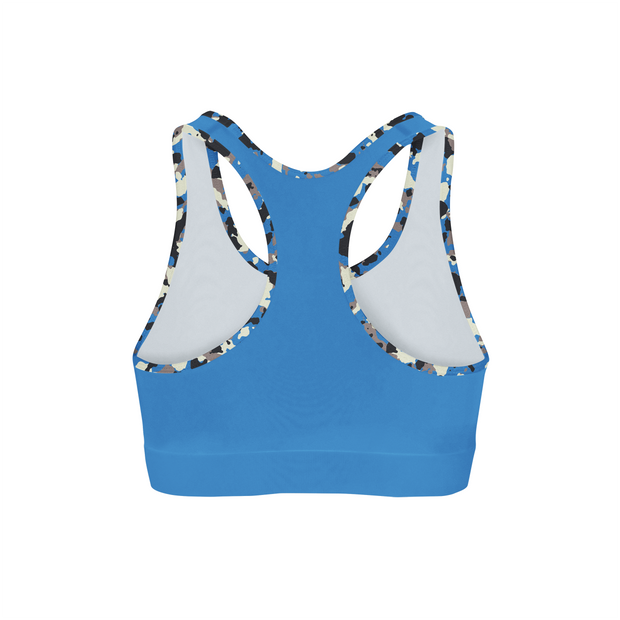 Blue Camo Back Color Sports Bra