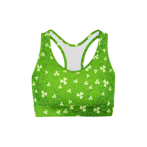 Bright Clovers Back Color Sports Bra,XS / Multicolored / Soft Lycra