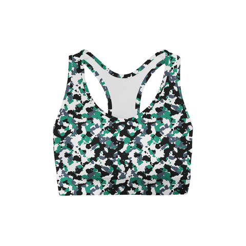 Green White Camo Back Color Sports Bra