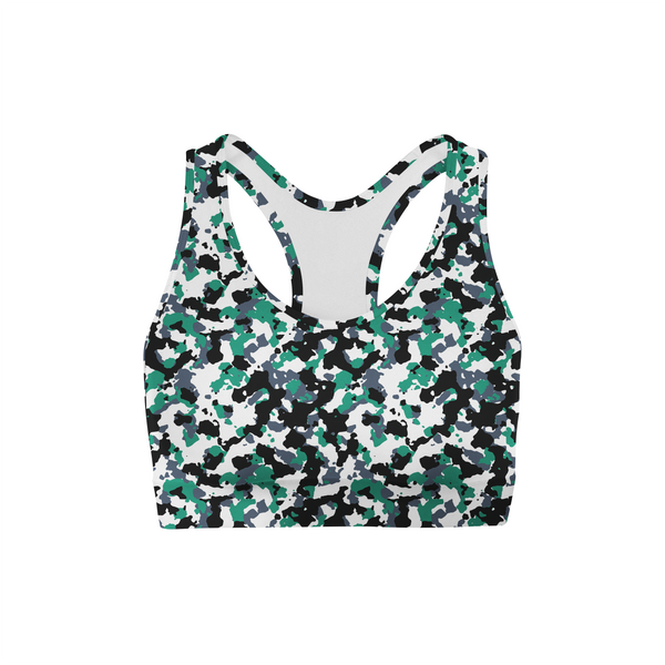Green White Camo Sports Bra,XS / Multicolored / Soft Lycra