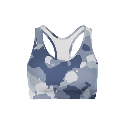 Dark Blue Camo Back Color Sports Bra