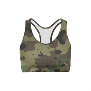 Dark Green Camo Back Color Sports Bra